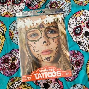 Día de los Muertos Costume Face Tattoos